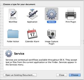Choose Automator Service