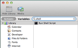 Search for the Run Shell Script action